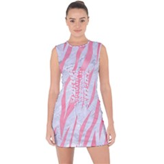 Skin3 White Marble & Pink Watercolor (r) Lace Up Front Bodycon Dress