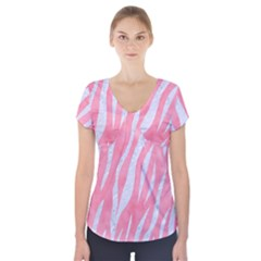 Skin3 White Marble & Pink Watercolor Short Sleeve Front Detail Top
