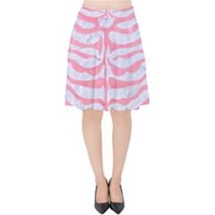 Skin2 White Marble & Pink Watercolor (r) Velvet High Waist Skirt