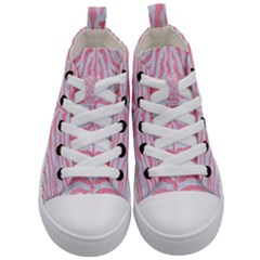Skin2 White Marble & Pink Watercolor (r) Kid s Mid Top Canvas Sneakers