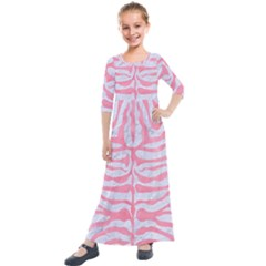 Skin2 White Marble & Pink Watercolor (r) Kids  Quarter Sleeve Maxi Dress