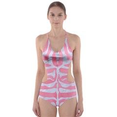 Skin2 White Marble & Pink Watercolor Cut Out One Piece Swimsuit