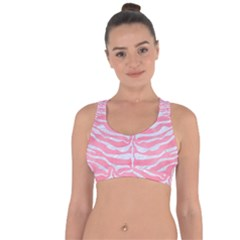 Skin2 White Marble & Pink Watercolor Cross String Back Sports Bra