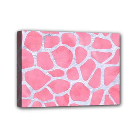 Skin1 White Marble & Pink Watercolor (r) Mini Canvas 7  X 5
