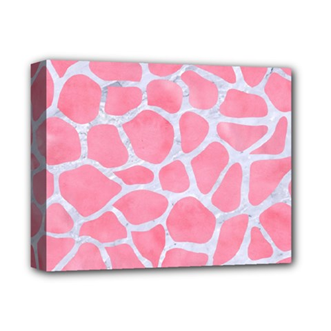 Skin1 White Marble & Pink Watercolor (r) Deluxe Canvas 14  X 11  by trendistuff