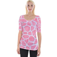 Skin1 White Marble & Pink Watercolor (r) Wide Neckline Tee
