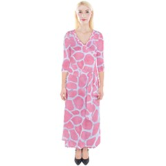 Skin1 White Marble & Pink Watercolor (r) Quarter Sleeve Wrap Maxi Dress