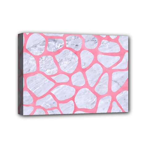 Skin1 White Marble & Pink Watercolor Mini Canvas 7  X 5