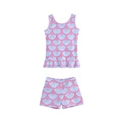 Scales3 White Marble & Pink Watercolor (r) Kid s Boyleg Swimsuit