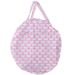 Scales3 White Marble & Pink Watercolor (r) Giant Round Zipper Tote by trendistuff