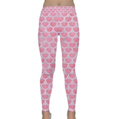 Scales3 White Marble & Pink Watercolor Classic Yoga Leggings