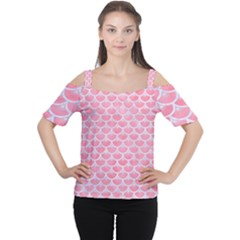 Scales3 White Marble & Pink Watercolor Cutout Shoulder Tee
