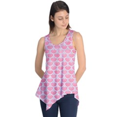 Scales3 White Marble & Pink Watercolor Sleeveless Tunic