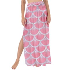 Scales3 White Marble & Pink Watercolor Maxi Chiffon Tie Up Sarong
