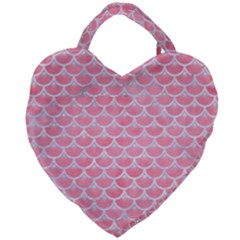Scales3 White Marble & Pink Watercolor Giant Heart Shaped Tote