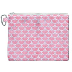 Scales3 White Marble & Pink Watercolor Canvas Cosmetic Bag (xxl)