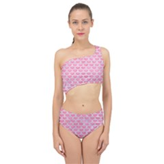 Scales3 White Marble & Pink Watercolor Spliced Up Two Piece Swimsuit