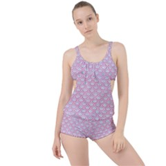 Scales2 White Marble & Pink Watercolor (r) Boyleg Tankini Set