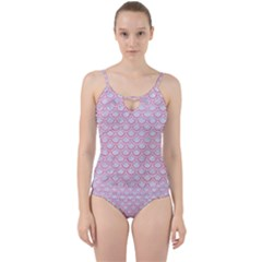 Scales2 White Marble & Pink Watercolor (r) Cut Out Top Tankini Set
