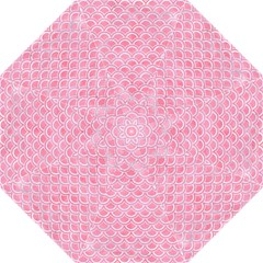 Scales2 White Marble & Pink Watercolor Folding Umbrellas