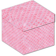 Scales2 White Marble & Pink Watercolor Storage Stool 12