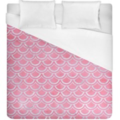 Scales2 White Marble & Pink Watercolor Duvet Cover (king Size)