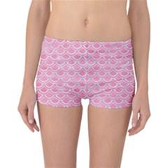 Scales2 White Marble & Pink Watercolor Reversible Boyleg Bikini Bottoms