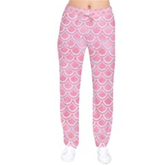 Scales2 White Marble & Pink Watercolor Velvet Drawstring Pants