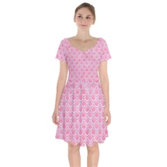 Scales2 White Marble & Pink Watercolor Short Sleeve Bardot Dress