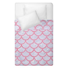 Scales1 White Marble & Pink Watercolor (r) Duvet Cover Double Side (single Size)