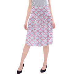Scales1 White Marble & Pink Watercolor (r) Midi Beach Skirt