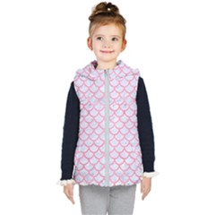 Scales1 White Marble & Pink Watercolor (r) Kid s Hooded Puffer Vest