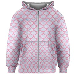 Scales1 White Marble & Pink Watercolor (r) Kids Zipper Hoodie Without Drawstring