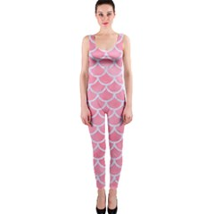 Scales1 White Marble & Pink Watercolor One Piece Catsuit