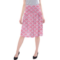 Scales1 White Marble & Pink Watercolor Midi Beach Skirt