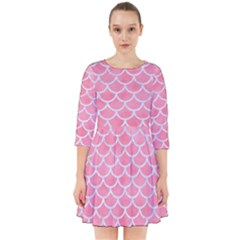 Scales1 White Marble & Pink Watercolor Smock Dress