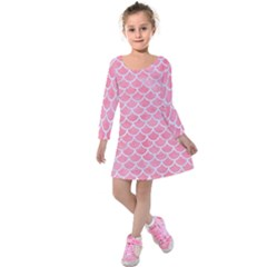 Scales1 White Marble & Pink Watercolor Kids  Long Sleeve Velvet Dress