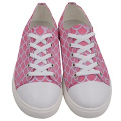 Scales1 White Marble & Pink Watercolor Women s Low Top Canvas Sneakers
