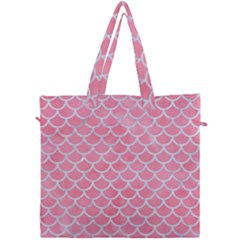 Scales1 White Marble & Pink Watercolor Canvas Travel Bag