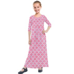Scales1 White Marble & Pink Watercolor Kids  Quarter Sleeve Maxi Dress