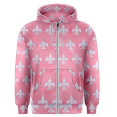 Royal1 White Marble & Pink Watercolor (r) Men s Zipper Hoodie