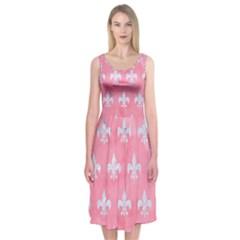 Royal1 White Marble & Pink Watercolor (r) Midi Sleeveless Dress