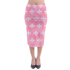 Royal1 White Marble & Pink Watercolor (r) Midi Pencil Skirt