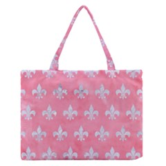 Royal1 White Marble & Pink Watercolor (r) Zipper Medium Tote Bag
