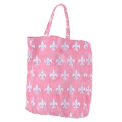 Royal1 White Marble & Pink Watercolor (r) Giant Grocery Zipper Tote