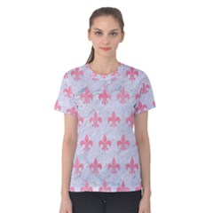 Royal1 White Marble & Pink Watercolor Women s Cotton Tee