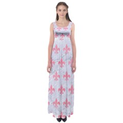 Royal1 White Marble & Pink Watercolor Empire Waist Maxi Dress