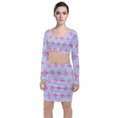 Royal1 White Marble & Pink Watercolor Long Sleeve Crop Top & Bodycon Skirt Set