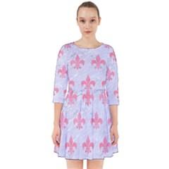 Royal1 White Marble & Pink Watercolor Smock Dress
