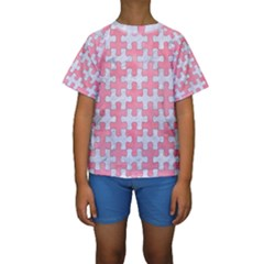 Puzzle1 White Marble & Pink Watercolor Kids  Short Sleeve Swimwear